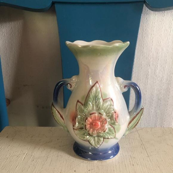 Vintage Ceramic Lustreware Vase Made in Brazil